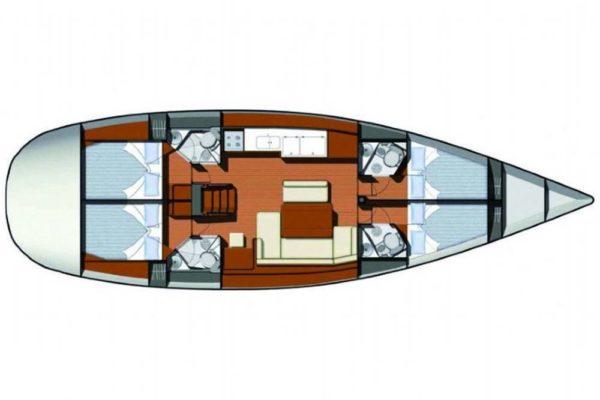 Yachting 2000 - Sun Odyssey 49i Skazka Innenaufteilung