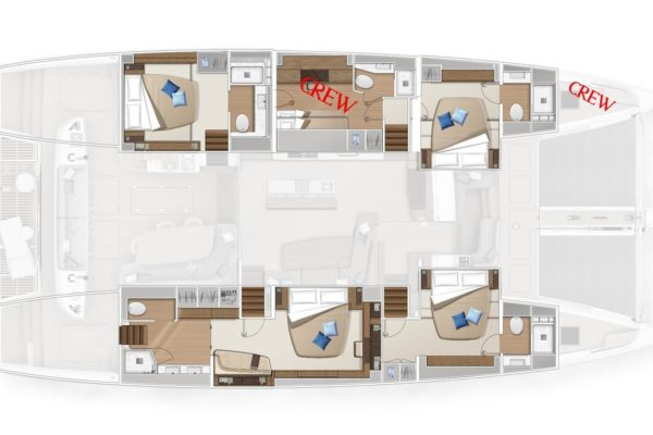 Lagoon SIXTY 5 Layout Cabins | Yachtcharter | Yachting 2000